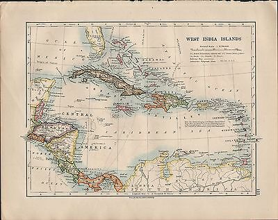 1914 Map ~ West India Islands ~ Cuba Haiti Central America Panama Costa Rica