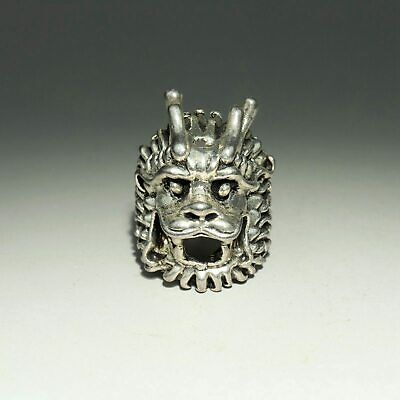 Collectable China Old Miao Silver Hand-Carved Myth Dragon Auspicious Noble Ring