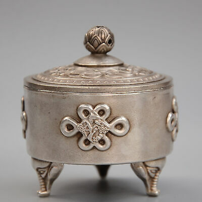 Collectable China Old Miao Silver Hand-Carved Bird & Bloomy Lotus Luck Censer