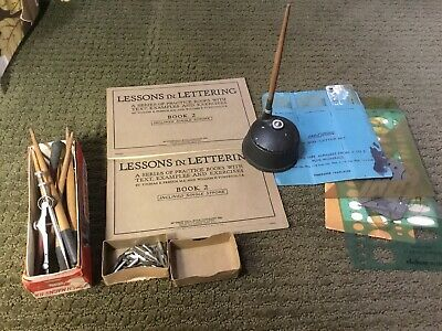 VinTage Lot Of Dip Pens Nibs Calligraphy Lettering Drawing Templates Ink Well
