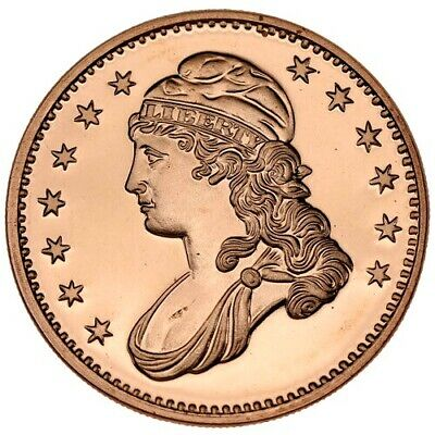 1 oz Copper US Capped Bust Half Dollar Design .999 Fine Coin Brilliant UNC+