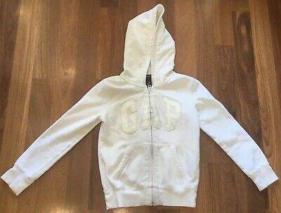 GAP Kids Girls White Full Zip Hoodie Size M