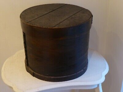 Antique Kiel Woodware Co. (Wisconsin) Primitive Ebonised Bentwood Hat Box.