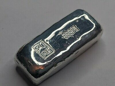 1 oz Silver Bar Ingot 999 Fine Silver Hand Poured Cert of Authenticity