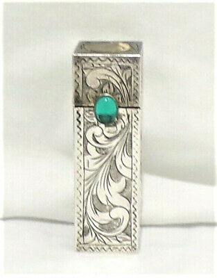 Vintage Silver Marked 800 LIPSTICK Compact CASE with Mirror and TEAL Gemstone