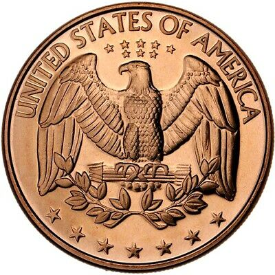 EAGLE DESIGN OF WASHINGTON QUARTER REV 1oz COPPER ROUND
