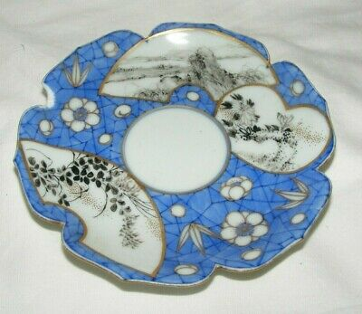 Antique Chinese Blue Ground Saucer Powder Blue 6 Character Mark Painted Panels