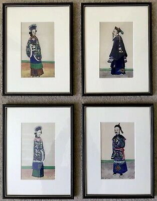 ANTIQUE CHINESE 19c Chinese Rice/pith Paintings Of Court Figures Quing Dynasty