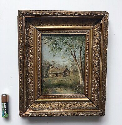 Small Antique Landscape Painting Ornate Gilt Wood Frame Early 19th Century