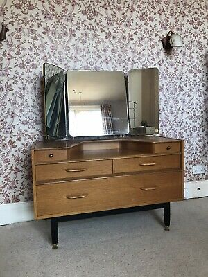 Mid Century E Gomme G Plan Dressing Table With Triple Mirror Retro