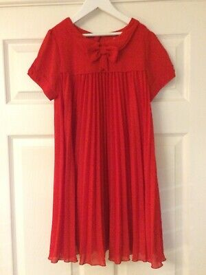 NEXT ~ Girls Stunning Red, Pleated Party / Occasion Dress, Fit Girl Age 10 Years