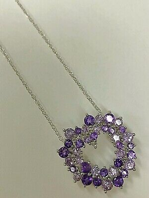 Genuine 5ct African Amethyst Stone Heart Pendant Necklace 925 Sterling Silver