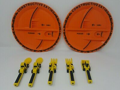 Constructive Eating Construction Sets 2 Plates 2 Forks 2 Spoons 1 Pusher