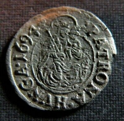 Late Medieval Coin Silver 1694 Lot Ancient Old Mother Mary Jesus Cross Shield