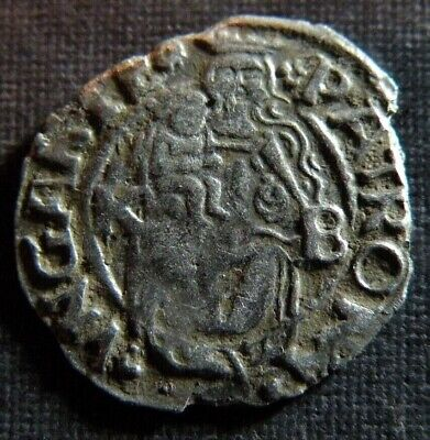 Late Medieval Coin Silver 1540 Lot Ancient Old Mother Mary Jesus Cross Shield