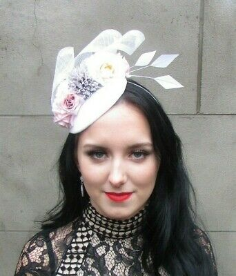 Ivory White Grey Light Blush Pink Flower Feather Headpiece Hat Fascinator 8098