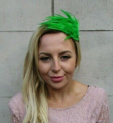 Green Gold Feather Fascinator Headband Headpiece Hair Alice Band Races Vtg 9004