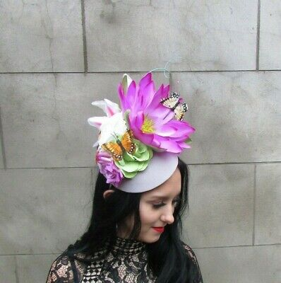 Light Grey Lilac Pink Tropical Butterfly Flower Hat Races Fascinator Ascot 9011