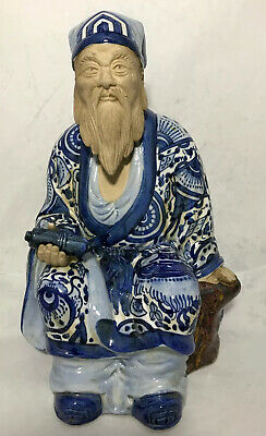 """VINTAGE PORCELAIN Statue CHINESE MALE FIGURINE Hand Painted 12"""""""
