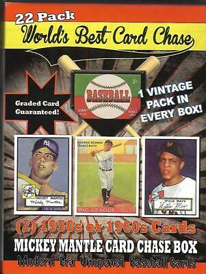 1952 Mantle Rookie Card Chase Box ;Graded Cd:22 pcks;2 50/60 Cardsvintage pack