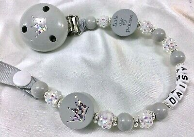 ♕ Personalised DUMMY CLIP Name upto 10 letters ♕ LITTLE PRINCESS ♕ GREY Sparkle♕
