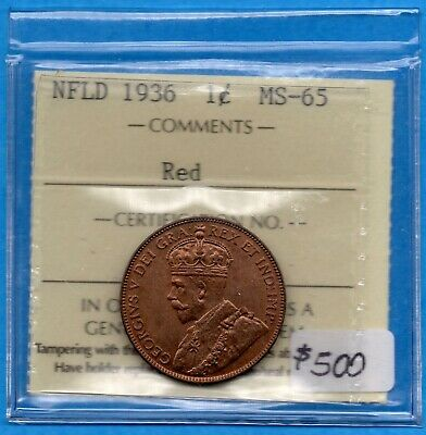 Canada Newfoundland 1936 1 Cent One Large Cent Coin - ICCS MS-65 Red