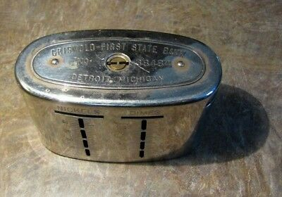Vintage Antique Advertising Bank 1913 Savings Teller Griswold Detroit Michigan