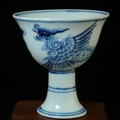 China old Blue white porcelain Hand painted phoenix cup /chenghua mark b01