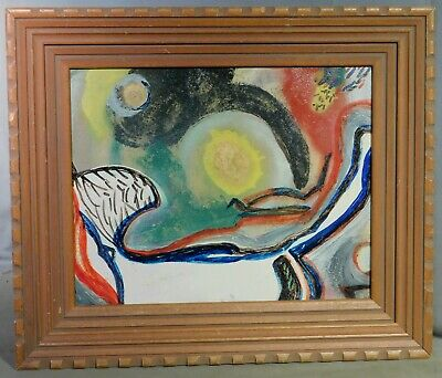 Vintage Modern Abstract Oil Painting 1960's Original ATOMIC ART Picture Frame