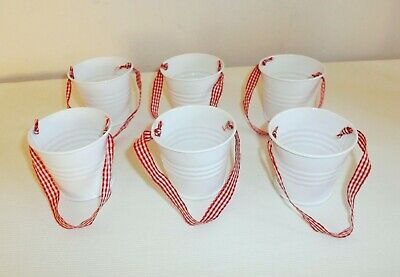 The Little White Company 6 x White Metal Hanging Buckets - Red Gingham Trim BNIB