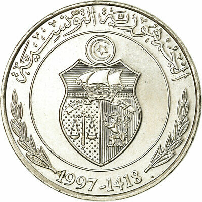 [#319642] Coin, Tunisia, Dinar, 1997/AH1418, AU, Copper-nickel, KM:347