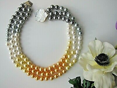 3 Row, Multi-colour, South Sea Shell Pearl Necklace - New.