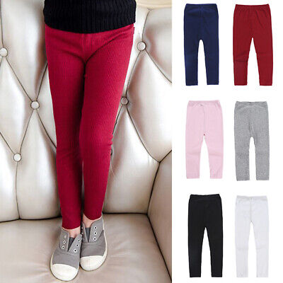 Kids Girls Toddler Winter Warm Trousers Slim Fit Knitted Leggings Casual Pants