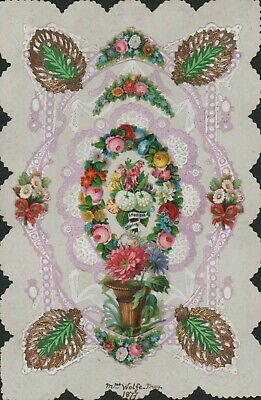 Victorian Paper Lace Greetings Card Scraps 1877 Large Mrs Wolke HL3.276c