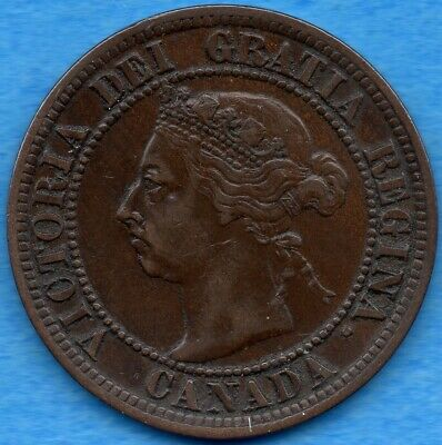 Canada 1891 SD SL Obv 3 1 Cent One Large Cent Coin - Very Fine
