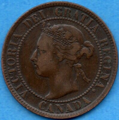 Canada 1894 1 Cent One Large Cent Coin - VG/F