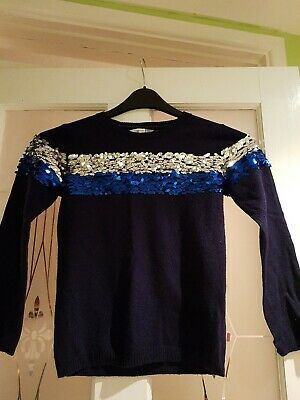 Girls Blue Long Sleeved Sparkly Jumper By John Lewis Age 8