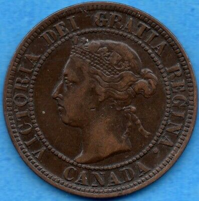 Canada 1898 H 1 Cent One Large Cent Coin - F/VF