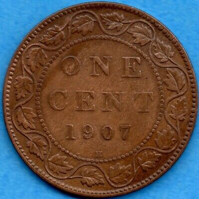 Canada 1907 H 1 Cent One Large Cent Coin - Key Date - Fine