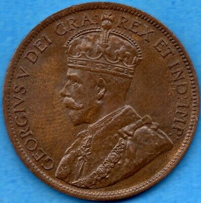 Canada 1915 1 Cent One Large Cent Coin - Choice Uncirculated Brown