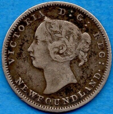Canada Newfoundland 1888 5 Cents Five Cent Small Silver Coin - Solid Fine