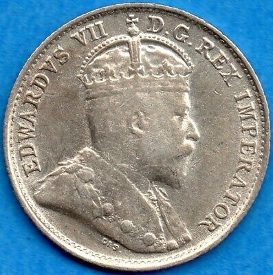 Canada 1903 H Large H 5 Cents Five Cent Small Silver Coin - VF/EF