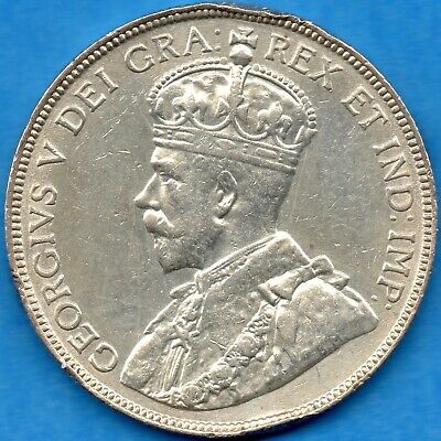 Canada 1916 50 Cents Fifty Cents Silver Coin - VF/EF (harshly cleaned)