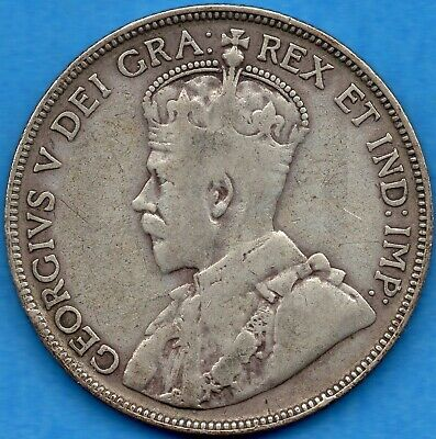 Canada 1934 50 Cents Fifty Cents Silver Coin - VG/F
