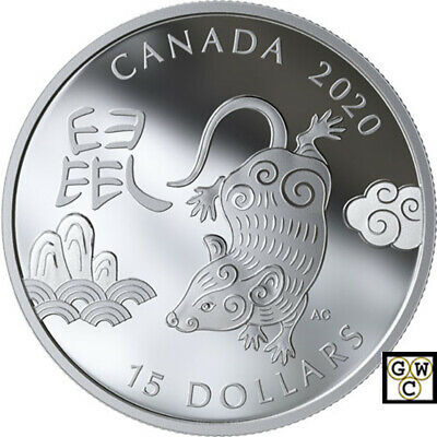 2020 'Year of the Rat' (Type #2 -Round) Proof $15 Silver Coin .9999 Fine (18808)