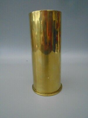 VINTAGE BRITISH MILITARY BRASS SHELL CASING VASE ART marked with crows foot