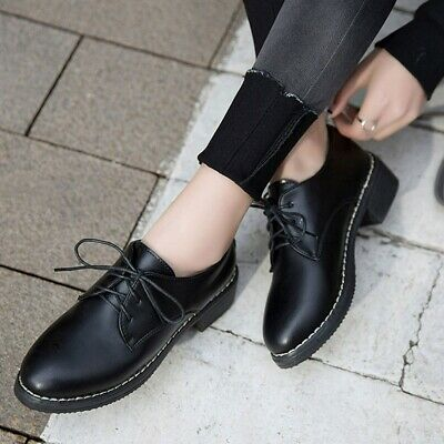 1 Pair of Women Lace-up Shoes Black Non-slip Oxford Shoes for Women Girls Ladies