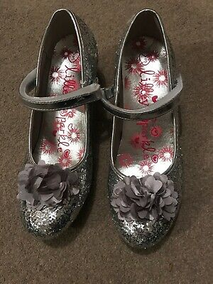 Girls Silver Sparkly Party Shoes Heels 3