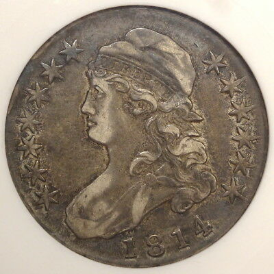 1814 Capped Bust Half Dollar, Overton-102a, ANACS EF-40, Heavy Die Clashes