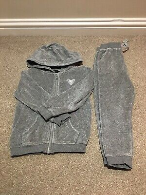 George Girls Grey/Silver Velour Tracksuit - 3-4 Years